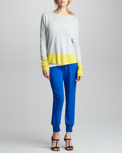 Colorblock Cashmere Sweater, Favorite Tank & Silk Sweatpants
