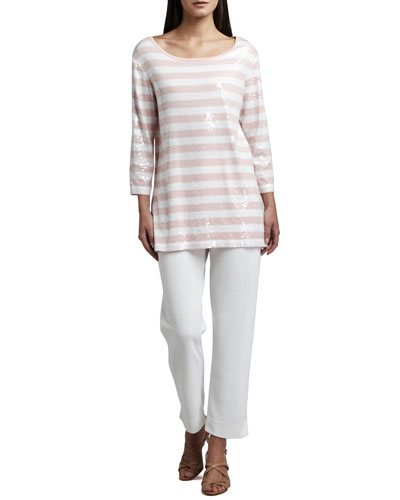 Sequined Striped Tunic & Slim Ankle Pants, Petite