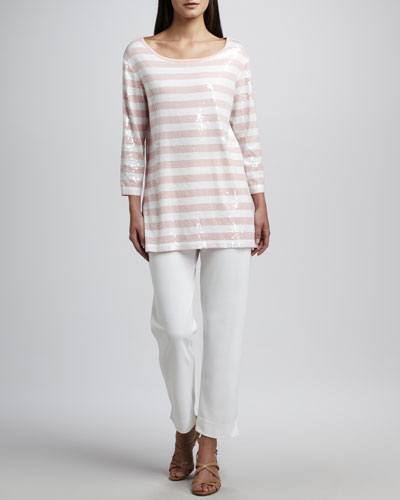 Sequined Striped Tunic & Slim Ankle Pants, Plus Size