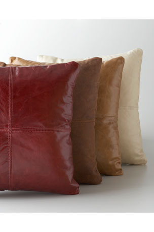 Massoud Brown Leather Pillow Cream Leather Pillow