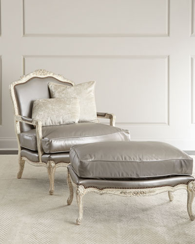 Silver Leather Bergere Chair & Ottoman