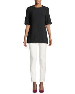 Lela Rose Short-Sleeve Tunic & Cropped Catherine Pants