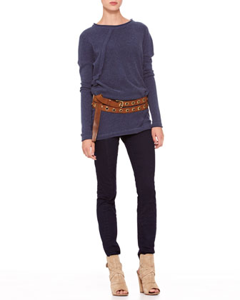 Long-Sleeve Fold Top, Second Skin Pants & Double-Wrap Grommet Belt