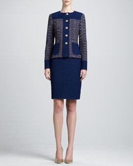 St. John Collection Textured Jewel-Neck Jacket & Sheath Dress