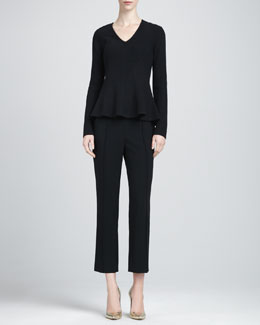St. John Collection Ribbed Peplum Sweater & Danielle Flare-Hem Capri Pants