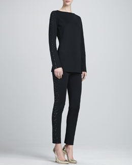 St. John Collection Long-Sleeve Boat-Neck Blouse & Beaded Stretch Milano Slim Pants
