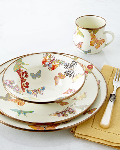 MacKenzie-Childs White Butterfly Garden Charger Plate