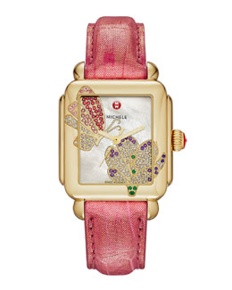 MICHELE Limited Edition Deco Jardin Gold Diamond-Dial Watch Head & 18mm Blush Alligator Strap