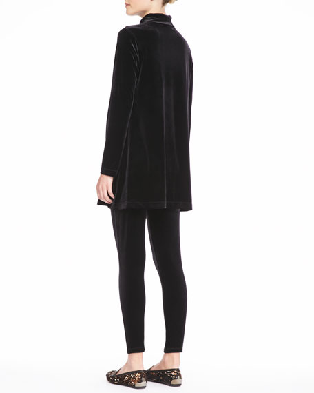 Velour Long-Sleeve Turtleneck Tunic, Petite