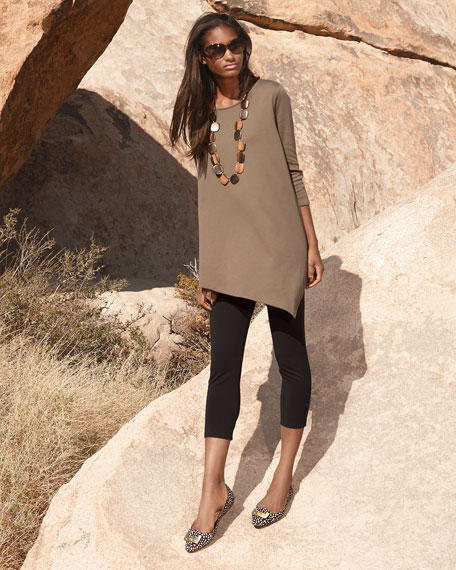 Joan Vass 3/4-Sleeve Asymmetric Tunic & Cropped Leggings