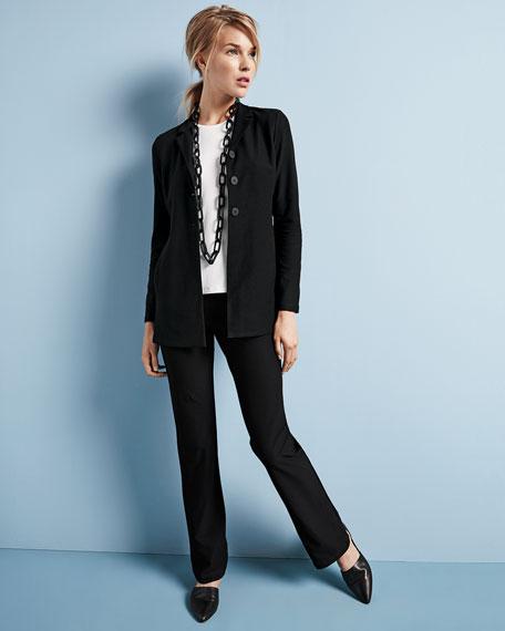 Washable-Crepe Long Jacket, Petite