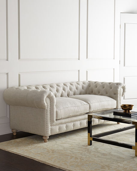 Old Hickory Tannery Lenoir Yellow Sofa: Old Hickory Tannery Eastman Tufted Sofa