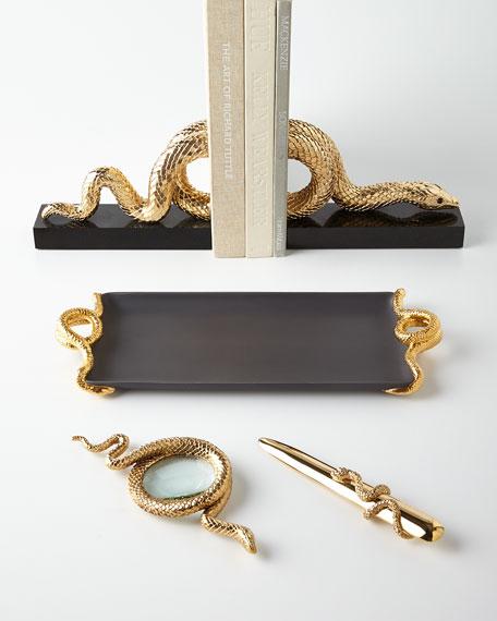 L'Objet Snake Large Gold-Plated Magnifying Glass