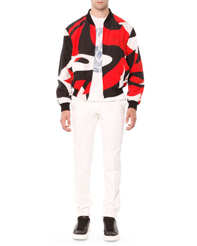 Kabuki-Print Bomber Jacket & Cotton Flat-Front Trousers