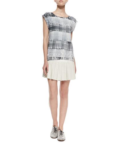 Printed Cap-Sleeve Sweatshirt & Pleated Combo Mini Skirt