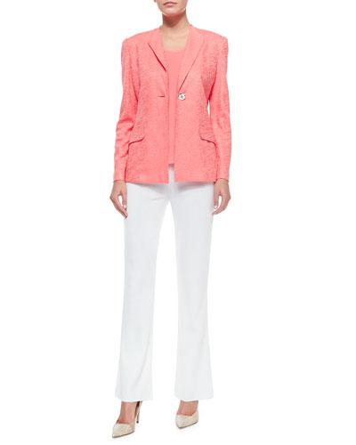One-Button Jacket, Scoop-Neck Knit Tank & Boot-Cut Knit Pants, Petite