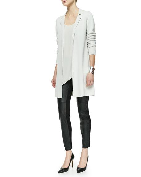 Eileen Fisher Silk Asymmetric Draped Shell, Petite, Bone
