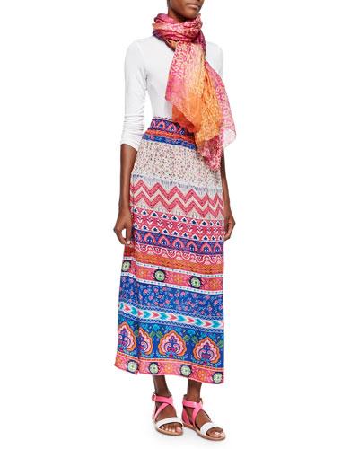Hazel Printed Silk Long Skirt & Mughal Pattern Silk Scarf