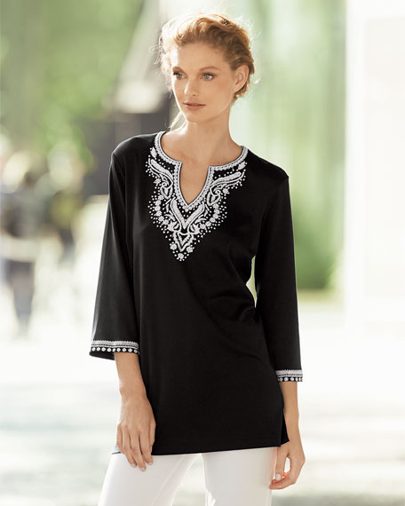 3/4-Sleeve Embroidered Tunic, Petite