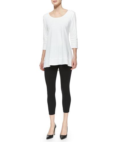 Interlock-Knit High-Low Tunic & Jersey Ankle Leggings, Women's