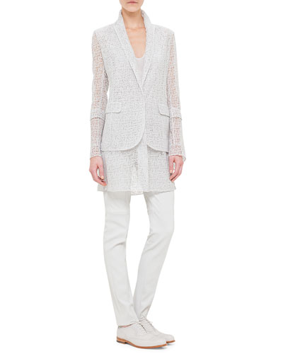 Broken Paint Embroidery Long Jacket, Scoop-Neck Silk Georgette Top & Napa Stretch-Leather Slim Pants