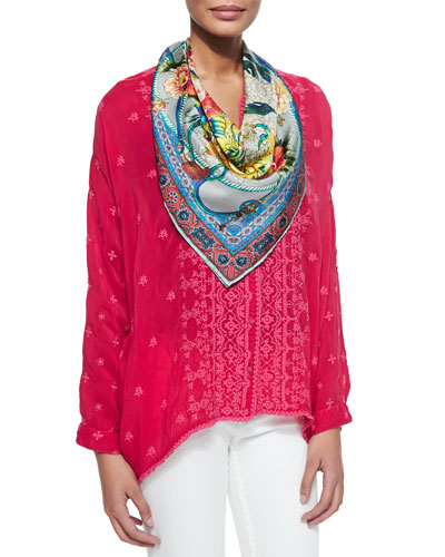 Chloe Boxy Button-Front Shirt & Flair Twill Printed Silk Scarf, Women's