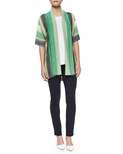 Vertical Striped Short-Sleeve Cardigan, Sleeveless Long Tank Top & Seamed Slim Pants