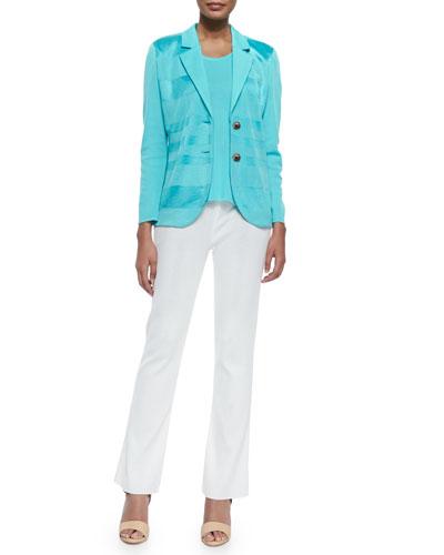 Horizontal Sheen Striped Jacket, Scoop-Neck Knit Tank & Boot-Cut Knit Pants
