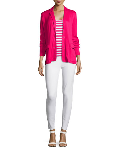 Knit Two-Button Jacket, Striped Cotton Tunic & Ponte Slim Ankle Pants, Petite