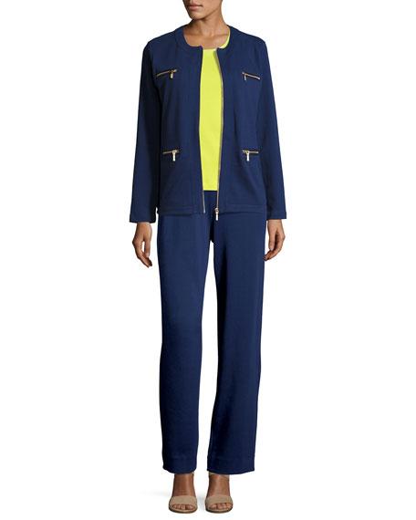 Stretch Interlock Zip-Front Jacket, Petite