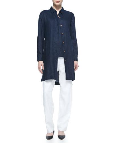 Long-Sleeve Linen Duster, Linen Scoop-Neck Tank & Straight-Leg Lined Linen Pants, Petite