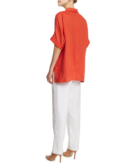 Oversized Short-Sleeve Linen Tunic, Petite