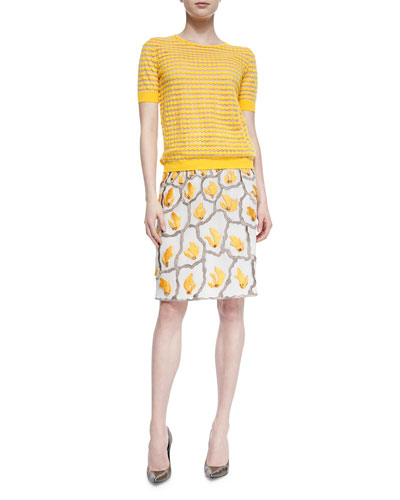 Dot-Striped Mesh T-Shirt & Sequined Embroidered Pencil Skirt