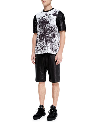Splash-Print Mixed Media Tee & Perforated Leather Shorts