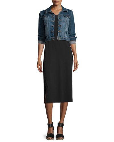 Denim Cropped Jacket & Floor-Length Jersey Dress