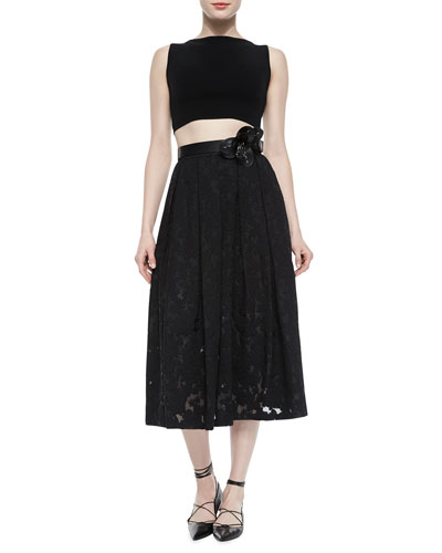 Sleeveless Knit Crop Top & Floral Fil Coupe Midi Skirt, Black