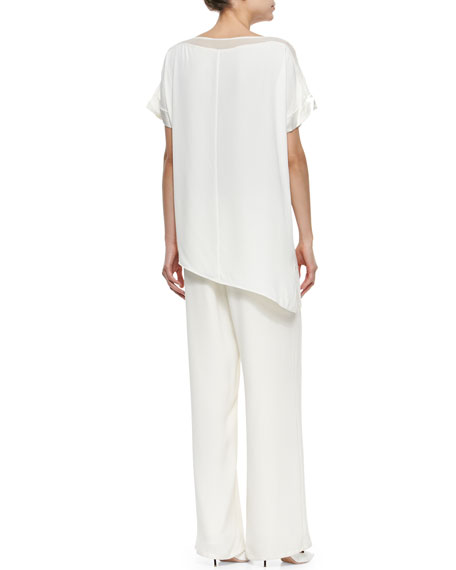 Silk Full-Leg Pants, Plus Size
