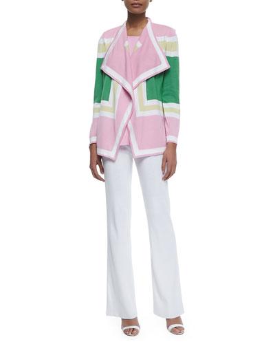 Colorblock Draped Cardigan, Sleeveless Long Tank & Boot-Cut Knit Pants, Petite