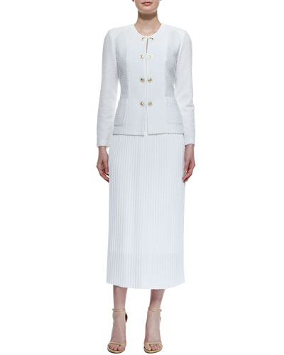 Button-Front Textured Jacket & Long Pleated Skirt, Petite