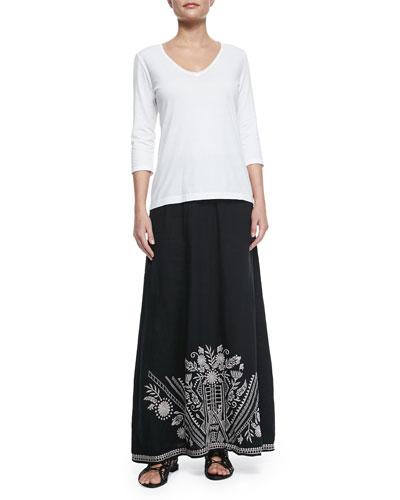 3/4-Sleeve V-Neck Tee & Embroidered Linen Maxi Skirt, Women's
