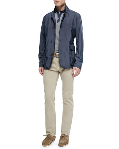 Roadster Blazer Jacket, Short-Sleeve Striped Polo & Five-Pocket Denim Jeans