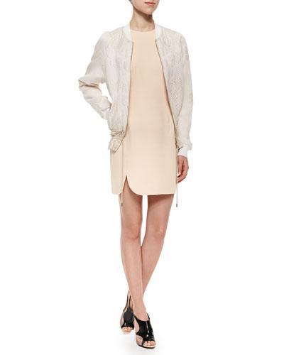Scroll-Pattern Cloque Bomber Jacket & Sleeveless Contoured Scuba Dress