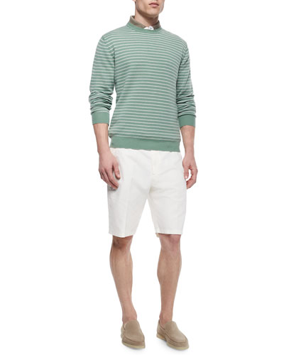 Westport Striped Crewneck Sweater, Regata Contrast-Collar Polo & Flat-Front Bermuda Shorts
