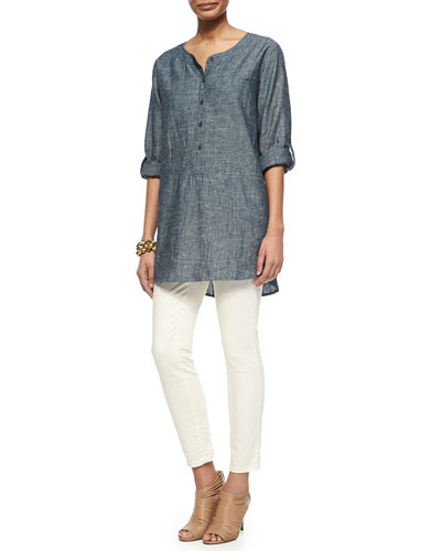 Chambray Long Tunic & Slim Stretch Ankle Jeans