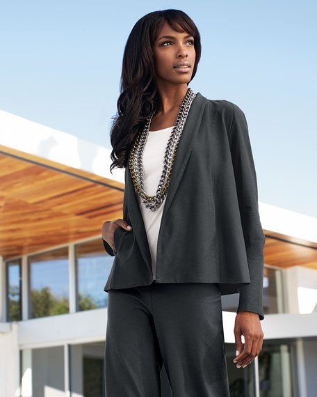 Washable-Stretch Crepe Short Jacket, Plus Size
