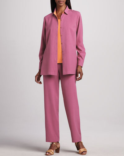 Easy-Fit Colorblock Silk Shirt, Silk Tank & Silk Ankle Pants, Petite