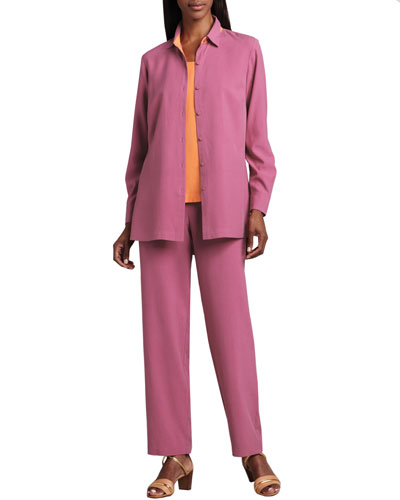 Easy-Fit Colorblock Silk Shirt, Silk Tank & Silk Ankle Pants, Women