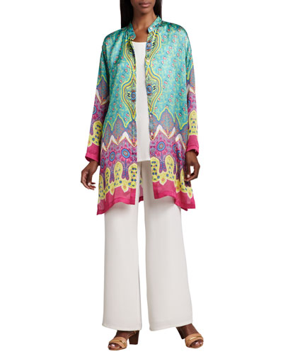 Allover Print Jacket, Longer Silk Tank & Wide-Leg Pants, Women