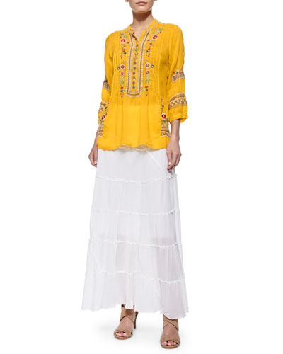 Katrina Embroidered Georgette Tunic & Tiered Maxi Skirt