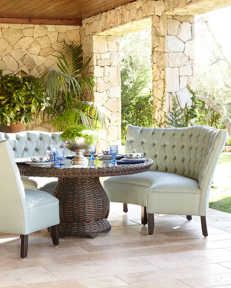 Pebblehill Designs & MFG Round Glass-Top Table & Tufted Outdoor ...